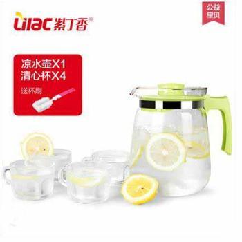 紫丁香 耐高温玻璃凉水壶大容量扎壶开水茶壶冷水壶水具果汁壶2L