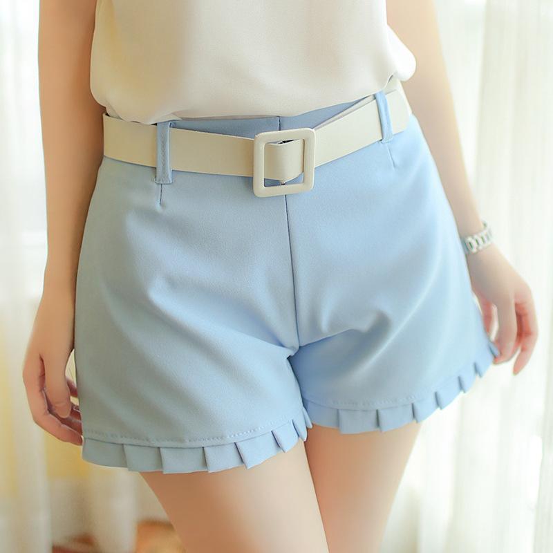 百褶裙裤微喇叭灯笼裤小高腰热裤
