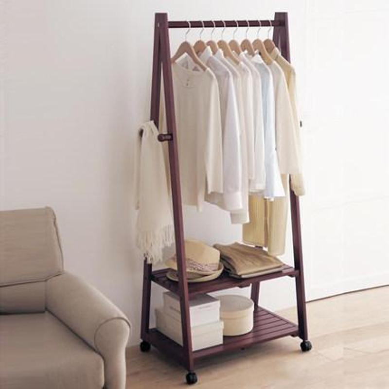家逸创意衣帽架实木落地卧室衣架挂衣架落地衣服架