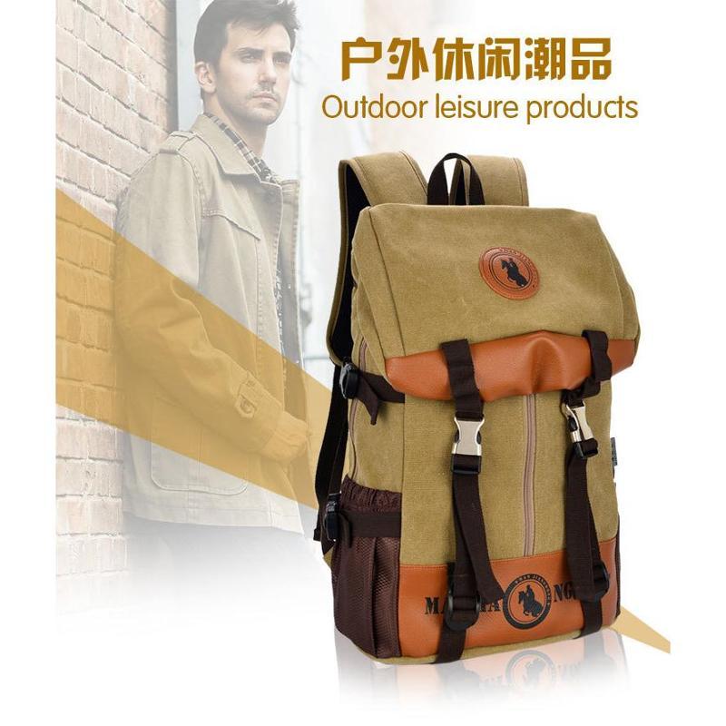 满江红 男士双肩背包 帆布休闲电脑包 新款图片