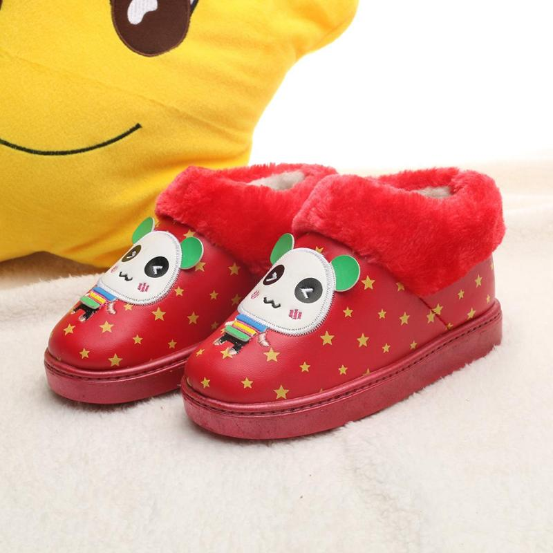 2014冬季儿童雪地靴 小熊猫卡通时尚毛口棉鞋 保暖耐寒防高清图片
