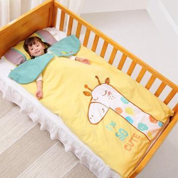 睡袋婴儿秋冬厚款棉花四季宝宝睡袋儿童厚款中大童防踢被四季通用90*150cm双胆