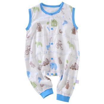 龙之涵婴儿穿棉纱布睡袋