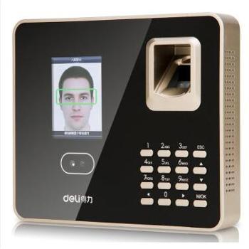 得力(deli)33155 面部指纹混合识别免软件考勤机 人脸识别+指纹识别+密码验证三合一智能打卡机 支持局域网