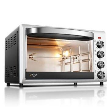 长帝(changdi)电烤箱家用多功能38升/L大容量 上下独立控温带转叉 TRTF38