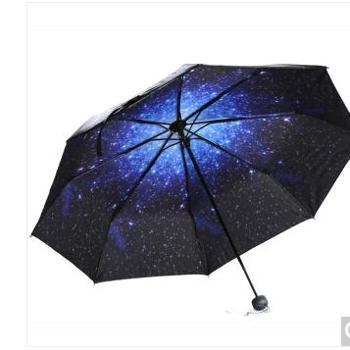 正品 天堂伞 (UPF50+)全遮光黑胶三折小黑伞太阳伞晴雨伞31806E
