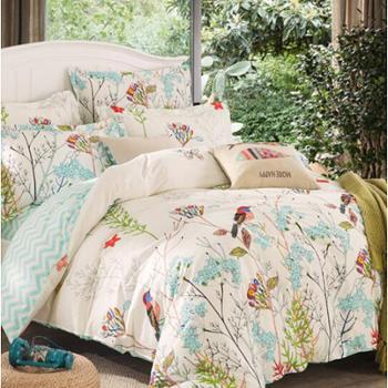 雅鹿·自由自在 四件套 纯棉床上用品全棉斜纹套件 1.5米/1.8米床适用 被套200*230cm 晚晴