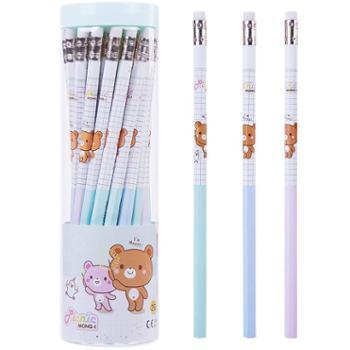 得力铅笔桶装带橡皮六角HB小学生写字笔 考试儿童绘图文具58134