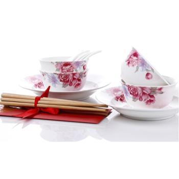 爱依瑞斯 华韵倾城12头餐具套装 8寸汤盘2个、4.5寸饭碗4个、小玛戈2个、免漆竹筷4双 AS-D1202H