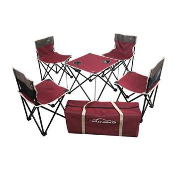 易路达红色折叠桌椅5件套YLD-TZS06