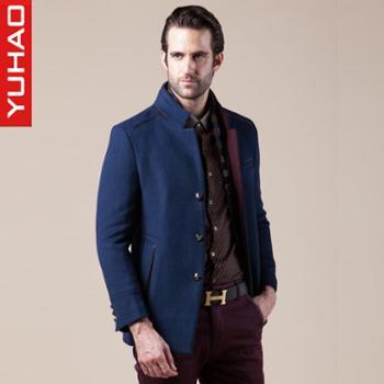 宇豪2014冬季新款男士中老年羊毛呢子大衣加厚保暖上衣英伦外套男