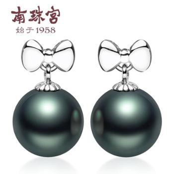 南珠宫如意结海水珍珠耳钉18K金送闺蜜女伴时尚百搭大溪地黑珍珠9-10mm