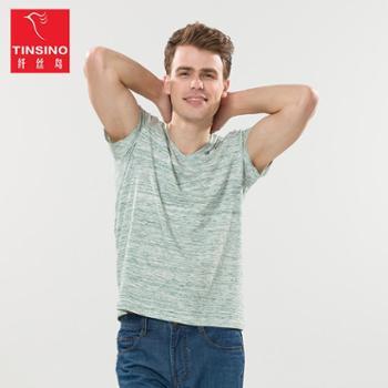 Tinsino/纤丝鸟男款色织V领短袖T恤ALWHY9088001