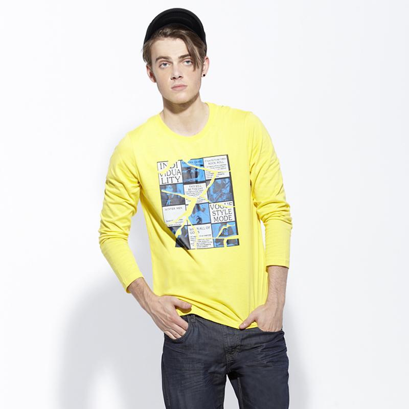 东方骆驼2013秋季新品 男装休闲直筒修身圆领印花长袖男T恤2021220