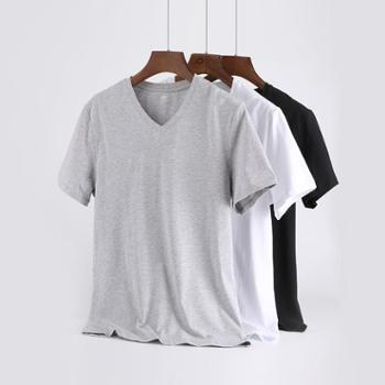 歌帝男士纯棉V领短袖T恤基础款透气汗衫GDW7403