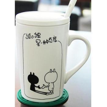 特价骨瓷杯子带盖勺陶瓷大容量马克杯咖啡牛奶杯创意情侣水杯包邮