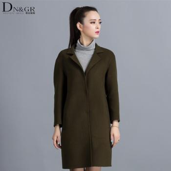dngr2015秋冬新款欧美风修身中长款双面羊绒大衣C16018