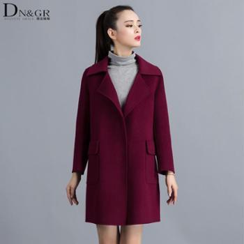 【dngr品牌团】2015秋冬新款欧美风修身中长款双面羊绒大衣C16025