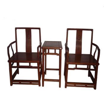 木头记 红木家具 缅甸花梨南官帽椅三件套
