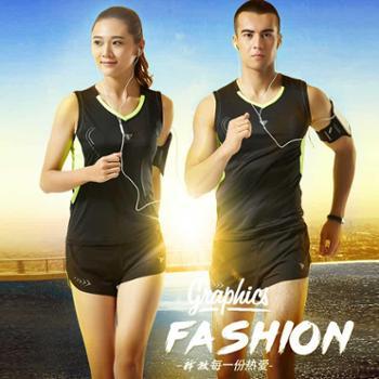 新款男女运动训练跑步套装透气吸汗马拉松比赛服田径服套装