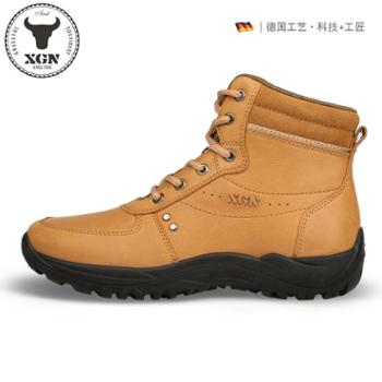 XGN冬季新款户外徒步鞋女高帮防滑保暖登山鞋头层牛皮防水旅游鞋