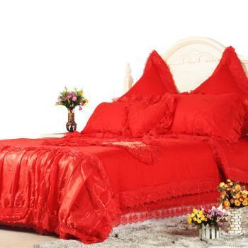 怡侬家纺 床上用品 婚庆用品 绗缝七件套 纯棉斜纹 蕾丝花边