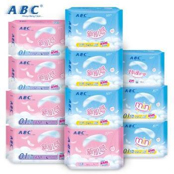 ABC新肌感棉柔日夜用卫生巾护垫11包共90片