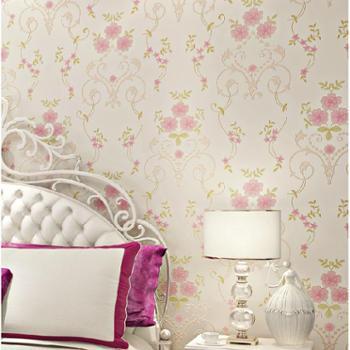 清新欧式田园小花无纺布壁纸客厅卧室女孩粉