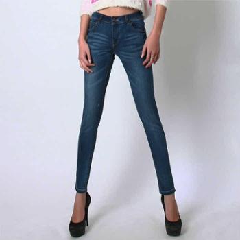 春季新款女式牛仔裤女式铅笔裤女式小脚裤显瘦修身舒适猫抓BC2008