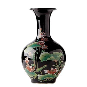 景德镇陶瓷器乌金釉荷花瓶现代新中式家居客厅玄关装饰品摆件
