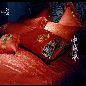 520家纺 婚庆床上用品十件套 中国风眷呈祥大红色