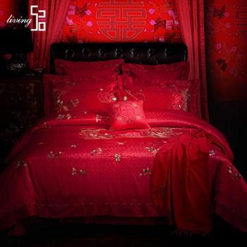 520家纺婚庆十件套件龙凤百子图中国风大红结婚床上用品婚庆床品