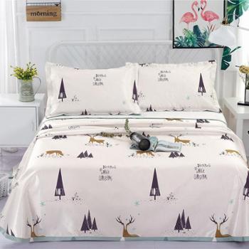 520床单式可水洗冰丝席三件套北欧麋鹿1.8-2米床