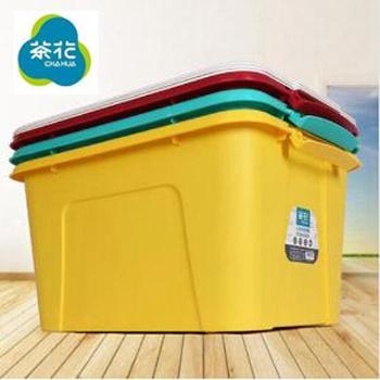 茶花 28103彩色塑料收纳箱 颜色随机发 35L 2个装
