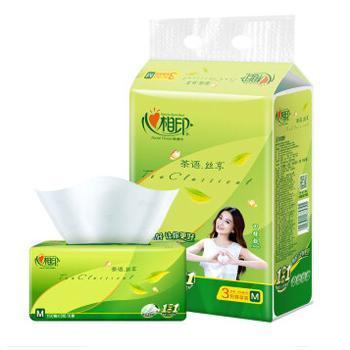 心相印 茶语丝享3层*150抽塑装面巾纸3包装DT32150