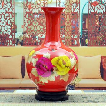 傲世瓷业 景德镇陶瓷器 古典麦秆瓷花瓶工艺品摆件装饰品 赏瓶 五色可选H015
