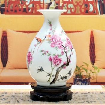傲世瓷业景德镇陶瓷器小号古典粉彩花瓶工艺品摆件装饰品玉壶春五款可选H004