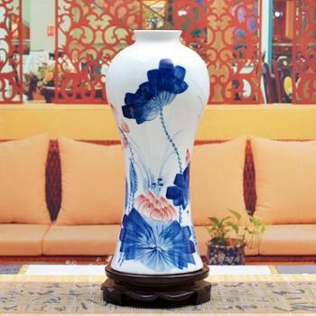 傲世瓷业景德镇陶瓷器古典青花瓷花瓶工艺品摆件装饰品斗彩手绘花瓶梅瓶三款可选H011