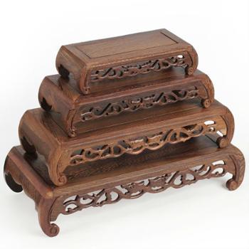 F玉器红木雕奇石底座工艺品摆件玉石底座圆头琴桌红木底座