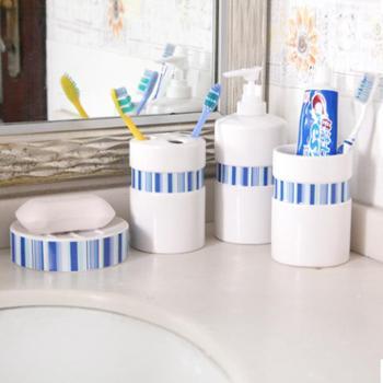 动动手 创意浴室用品套装陶瓷卫浴四件套洗漱套装牙膏牙刷杯套装