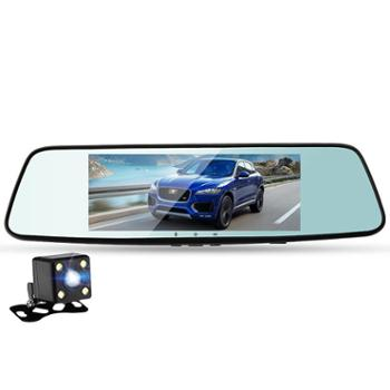 车之秀品 新品七寸触控大屏高清挂载式后视镜式前后双录蓝镜记录仪W70(套餐2)
