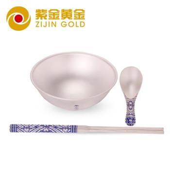 紫金黄金年年有余青花银碗套装足银银碗3件套银碗银筷子银汤匙