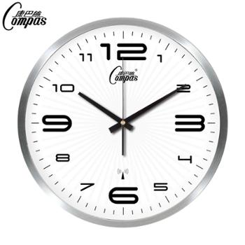 康巴丝电波钟创意欧式静音挂钟客厅卧室现代时钟金属拉丝外壳时尚简约钟表