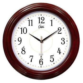 康巴丝欧式客厅挂钟现代创意钟表时尚简约时钟大号实木壁钟静音电波钟