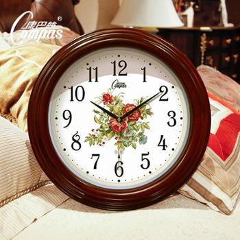 康巴丝欧式客厅挂钟现代创意钟表时尚简约时钟彩绘钟面大号实木壁钟静音电波钟
