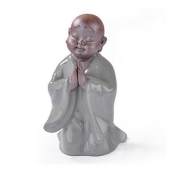 陶立方 趣味茶宠精品青瓷紫砂茶宝小和尚十六境精致茶道零配摆祈祷 c