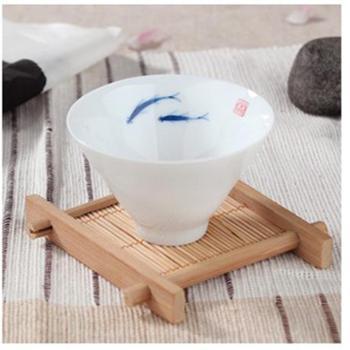 陶立方 纯手工青花手绘响杯陶瓷功夫茶具茶杯斗笠茶盏鲤鱼杯 TF-5058 两条鱼