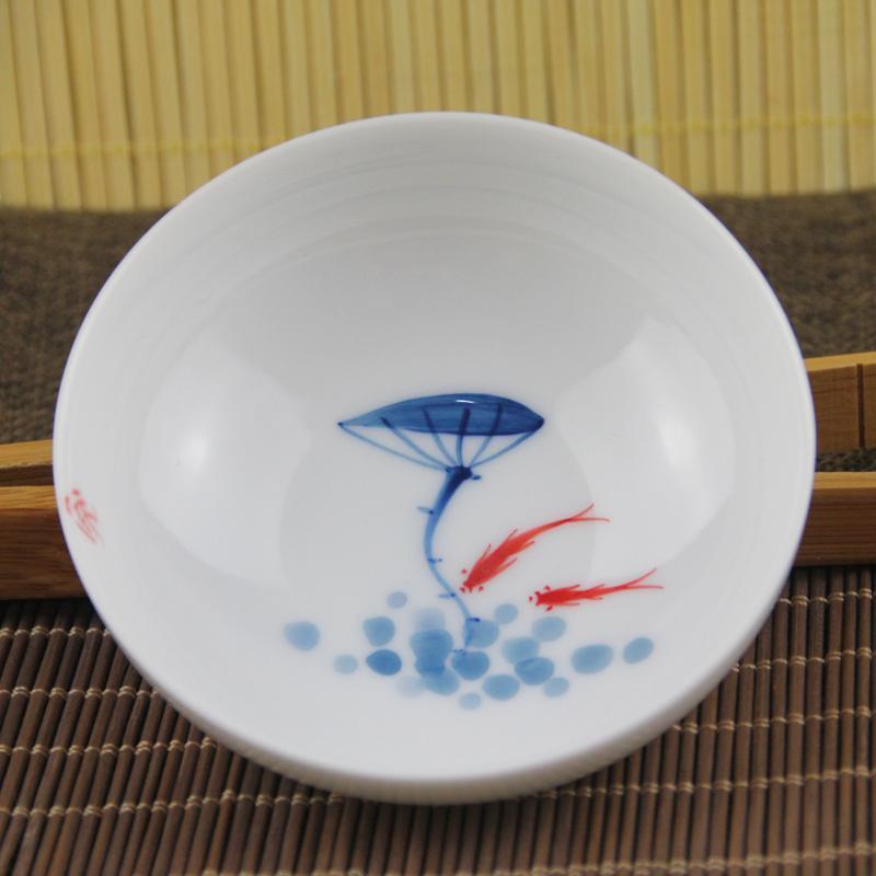 陶立方 青花瓷茶杯手绘杯陶瓷品茗杯功夫茶具茶杯50ml tf-5273