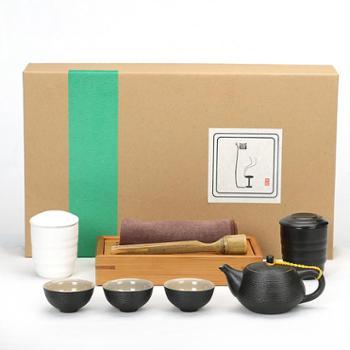 陶立方 德化手工创意紫砂功夫茶具套装竹茶盘茶壶茶杯茶叶罐茶夹茶巾礼盒装 TF-5470