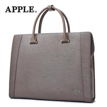 APPLE苹果商务手提包男真皮男包头层牛皮男士公文包横款大容量